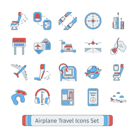 airplane mode: Set of isolated thin lined outlined icons for airplane travel. Illustration