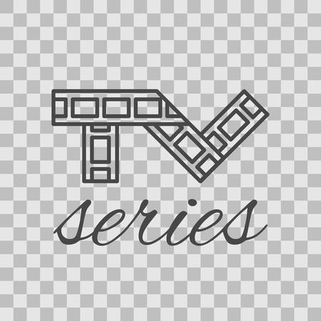 Geïsoleerde tv-serie dunne omzoomd pictogram.