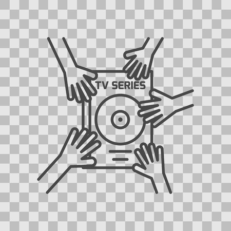 Isolated TV series thin lined outlined icon.