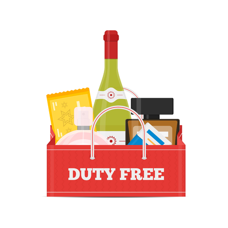 Vector flat icons of Duty Free shop and goods at airport