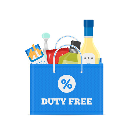cigarette pack: Vector flat icons of Duty Free shop and goods at airport
