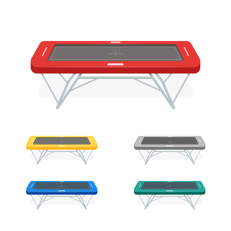 bounce: Jumping trampoline flat realistic icon