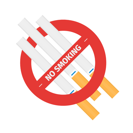 Isolated vector sign of stop smoking cigarettes
