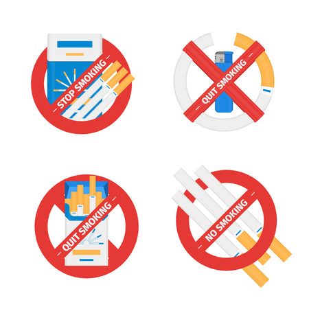 Isolated vector signs set of stop smoking cigarettes