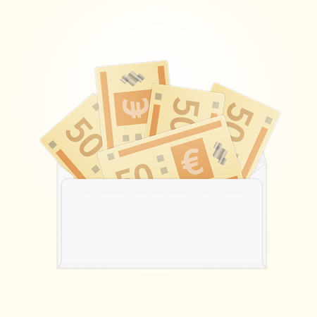 Vector isolated opened white envelope with cash