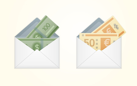 Vector isolated opened white envelope with cash. Vector illustration. Illustration