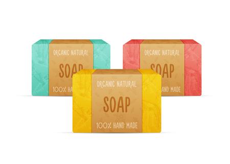 Barres de savon vectoriel à la main naturelles.