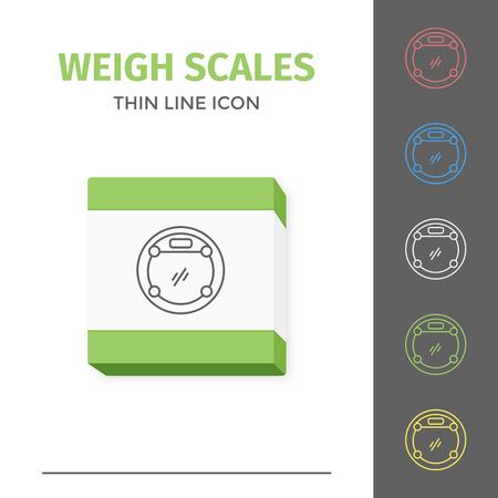 Simple line stroked bathroom weigt scales vector icon
