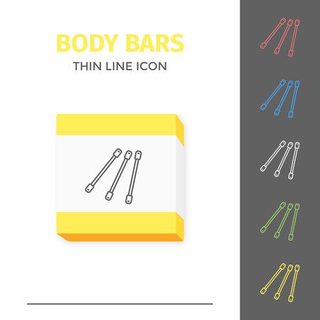 Simple line stroked handle body bars vector icon Çizim