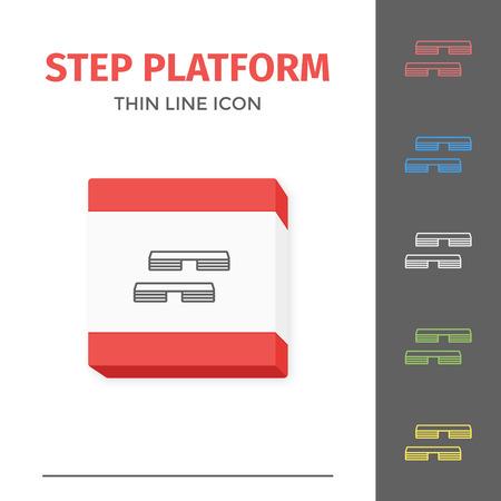 Simple line stroked step platform vector icon