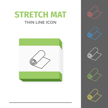 Simple line stroked stretch exercise mat vector icon Çizim