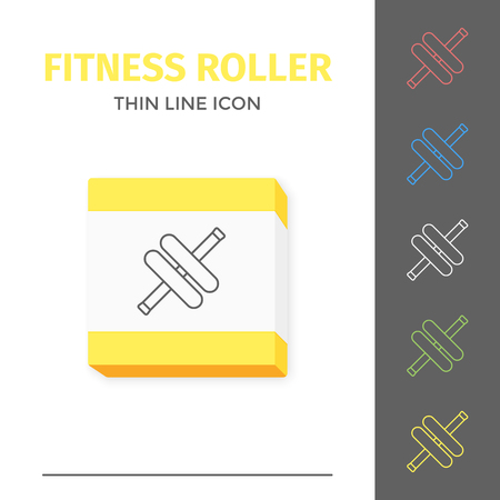 Simple line stroked handle fitness roller vector icon Çizim
