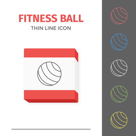 Simple line stroked fitness ball vector icon