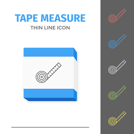 Simple line stroked tape measure vector icon