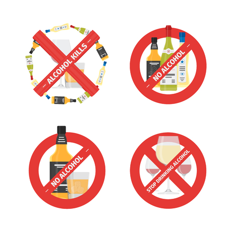 Flat stop drinking icons set of alcohol bottle with glass