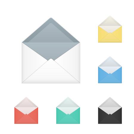 Set of isolated opened colored white envelopes Çizim