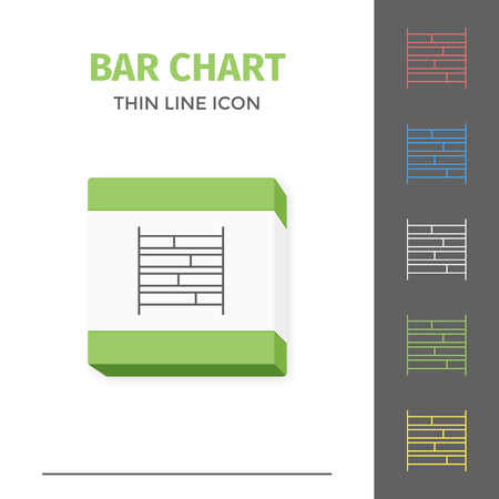 Simple line stroked chart or graph vector icon, vector illustration.