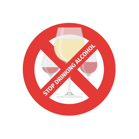 Vector flat stop drinking icon of alcohol glass, vector illustration. Çizim