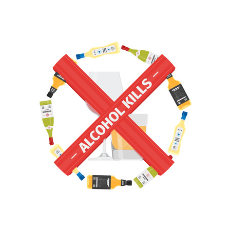 Vector flat stop drinking icon of alcohol bottle with glass, vector illustration.
