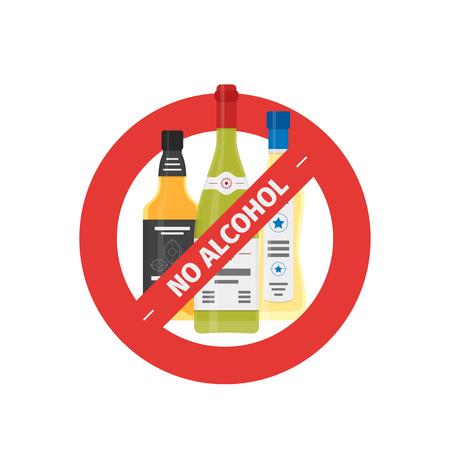 Vector flat stop drinking icon of alcohol bottles, vector illustration. Çizim