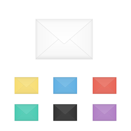 Vector set of isolated closed colored white envelopes, vector illustration. Çizim