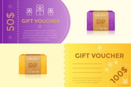 Gift voucher template for handmade soap store. Illustration