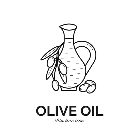 Thin line icon of olive oil bottle