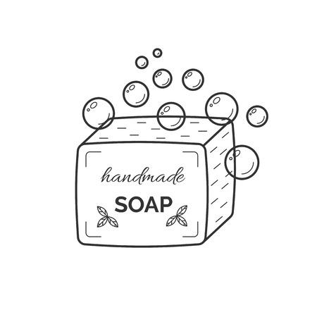 Thin line icon of natural organic handmade soap Çizim