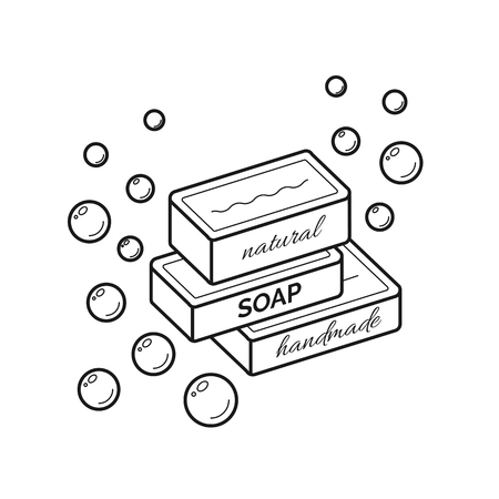 Thin line icon of natural organic handmade soap Illustration