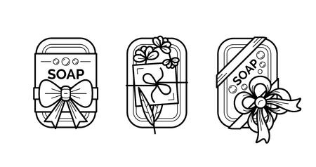 Thin line icons set of natural organic handmade soap