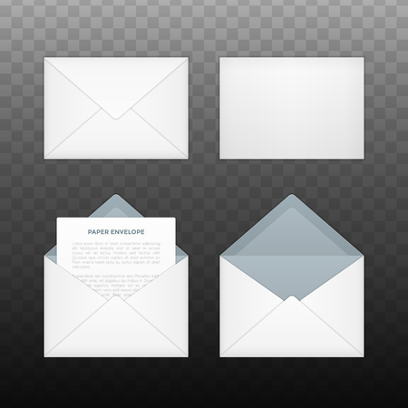 Vector isolated opened and closed white envelopes