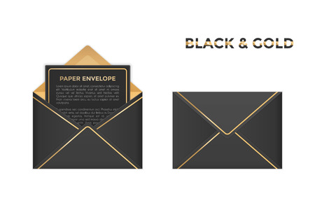 Vector isolated opened and closed black and gold envelopes