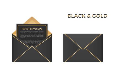 Vector geïsoleerde geopende en gesloten zwarte en gouden enveloppen