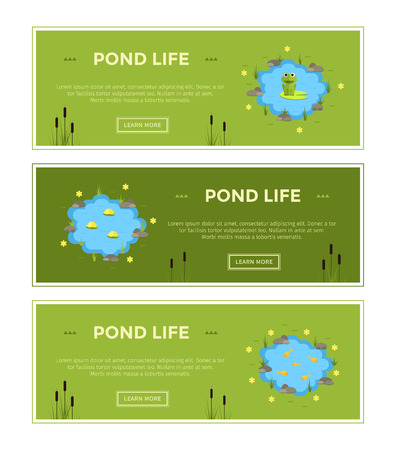 Cartoon vector garden pond advertisment banners with water, plants and animals.