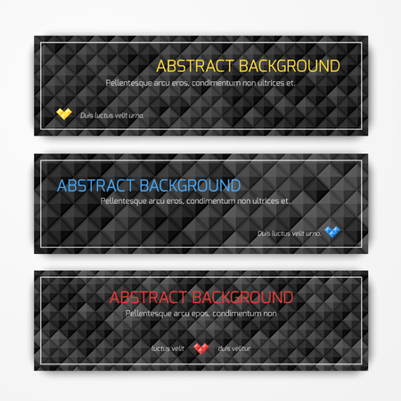 Set of vector abstract geometric banners Çizim