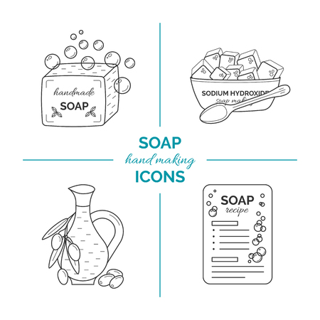 Set of vector thin line icons of handmade soap production, Vector illustration. Çizim
