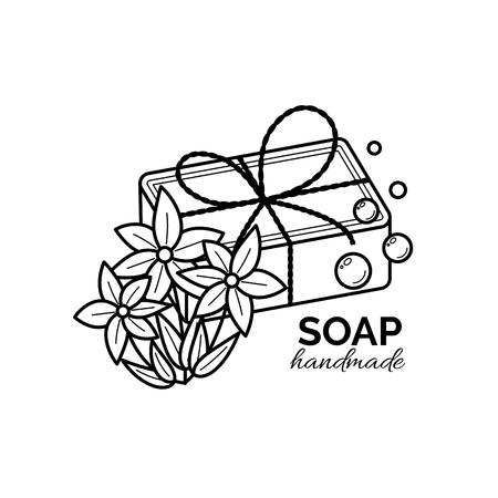 Vector thin line icon of natural organic handmade soap