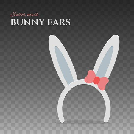 Happy Easter bunny ears. Rabbit mask with ears and red bow for easter celebration. Isolated vector illustration for holiday design.