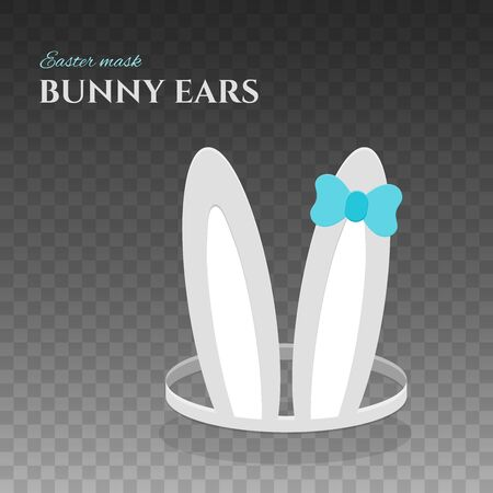 Happy Easter bunny ears. Rabbit mask with ears and blue bow for easter celebration. Isolated vector illustration for holiday design. Ilustrace