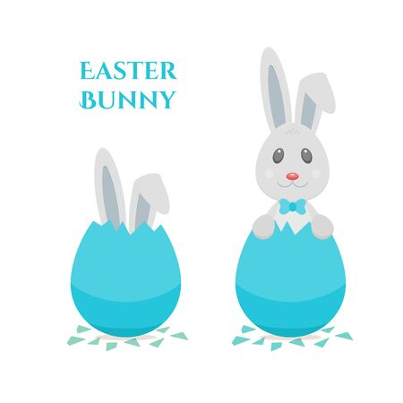 Happy Easter greeting card with cute bunny boy with blue bow and bolded ear. Rabbit hatching from blue dyed easter egg. Vector holiday design isolated on white background.