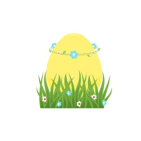 Happy Easter greeting card with yellow egg in green grass for hunt, with wreath from flowers and leaves on the top. Vector design isolated on white background for hunting ad, banner, sale poster. Ilustrace