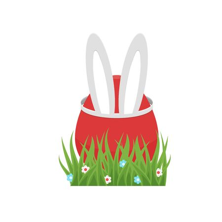 Happy Easter red egg, bunny or rabbit ears as hat. Ilustrace