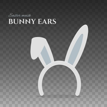 Happy Easter bunny ears. Rabbit mask with folded ear for easter celebration. Isolated vector illustration for holiday design.