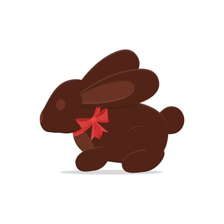 Vector Easter chocolate bunny rabbit with red bow.