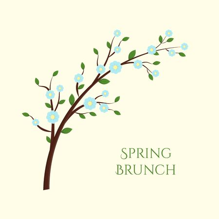 Vector spring card of tree branche with flowers