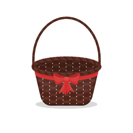Empty brown wicker basket with red bow and ribbon. Element for holiday, present, gift or picnic design. Vector isolated on white background illustration. Ilustrace