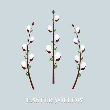 Vector cute isolated spring Easter willow branches