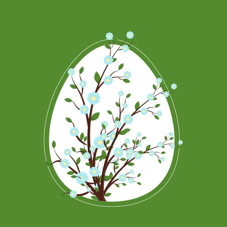 Easter greeting card with egg and tree branches