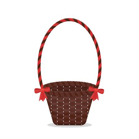 Vector isolated empty basket present with red bow Ilustrace