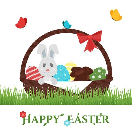 Happy Easter basket. Eggs, bunny, chocolate rabbit Ilustrace